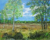 Landschaft, Birken, Baum, Landschaftsmalerei