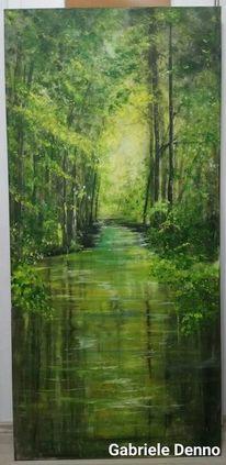 Frühling, Wald, Gemälde, Mystik