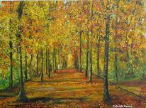 Promenade, Landschaft, Baumallee, Landschaftsmalerei herbst
