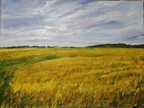 Sommer, Landschaft, Kornfeld, Malerei