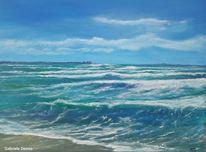 Meer, Landschaftsmalerei, Strand, Wellenschlag