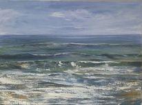 Impressionismus, Gewitter, Welle, Malen am meer
