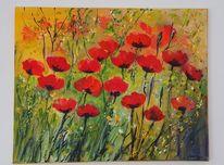 Rot, Gemälde, Gabrieledenno, Klatschmohn