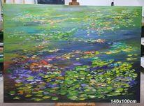 Gemälde, Blumen, See, Seerosenteich
