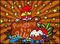 Pudding, Kuchen, Comic, Digitale kunst