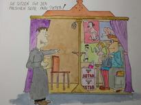 Zeichnung, Comic, Karikatur, Aquarell