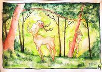 Wald, Fantasiewesen, Grün, Hain