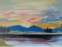 Acrylmalerei, Berge, Landschaft, Motiv william turner