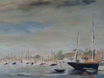Boote im hafen, Boot, Ölmalerei, Schiff