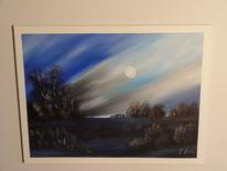 Landschaft, Mondschein, Öl auf leinen, Malerei