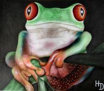 Airbrush, Frosch, Tierportrait, Malerei