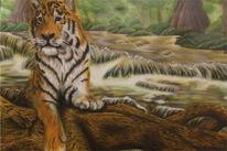 Tiger mit wasserfall, Airbrush, Tierportrait, Malerei