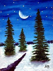 Schnee, Mond, Tanne, Ölmalerei