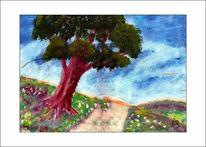 Baum, Blumen, Ölmalerei, Berge
