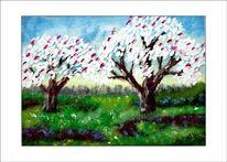 Frühling, Ölmalerei, Busch, Baum
