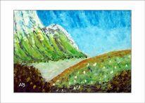 Schnee, Ölmalerei, Blumen, Hügel