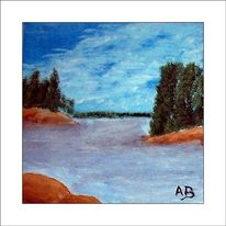 Felsen, Busch, Gemälde, Sommer