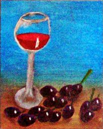 Gemälde, Acrylmalerei, Trauben, Glas