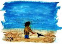 Ölmalerei, Junge, Himmel, Vogel