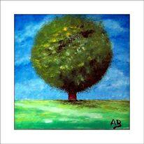 Gemälde, Ölmalerei, Baum, Feld