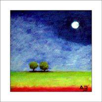 Vollmond, Wiese, Ölmalerei, Nachthimmel