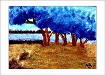 Blaue bäume, Wald, Himmel, Zeitgenössish