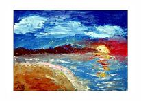Sonnenuntergang, Steilküstewellen, Himmel, Strand