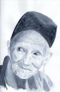 Oma, Grau, Asiatische frau, Tibet