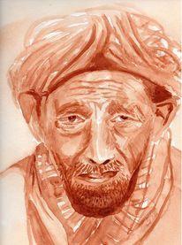 Braun, Mann mit turban, Sepia, Orient