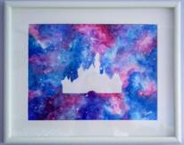 Galaxie, Aquarellmalerei, Pink, Schloss