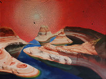 Fluss, Modern art, Ölmalerei, Kunstprojekt