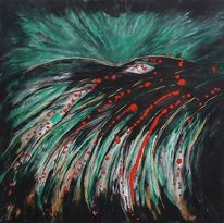 Abstrakt, Geheimnisvoll, Grün, Rot schwarz