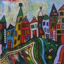 Stadt, Herbst, Acrylmalerei, Malerei