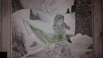 Landschaft, Fantasie, Kriegerin, Zeichnungen