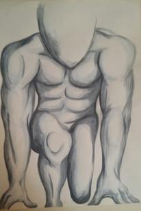 Akt, Mann, Sportler, Malerei