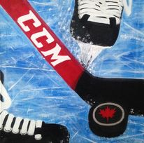 Sport, Schlittschuhlaufen, Eishockey, Acrylmalerei
