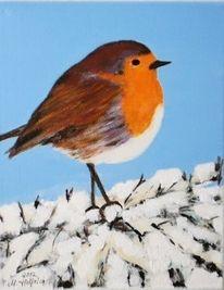 Rotkehlchen, Vogel, Tiere, Malerei