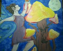 Elfen, Mondschein, Tanz, Pilze
