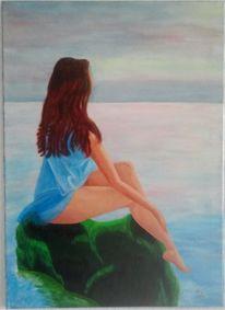 Meer, Malerei, Frau, Felsen