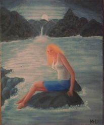 Fantasie, Frau, Wasserfall, Meer