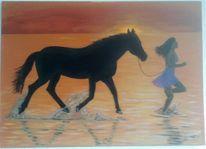 Meer, Frau, Pferde, Sonnenuntergang