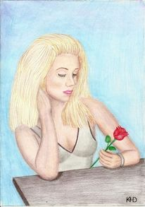 Rose, Zeichnung, Frau, Fantasie