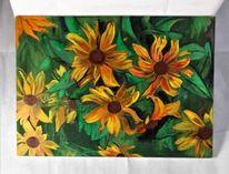 Gemälde, Sonnenblumen, Grün, Gelb