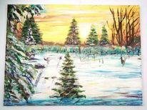 Schnee, Acrylmalerei, Wintersonne, Malerei