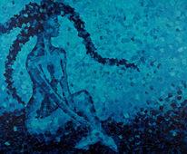 Meer, Frau, Blau, Malerei