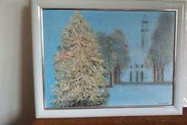 Ölmalerei, Tannenbaum, Kirche, Baum