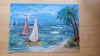 Segelboot, Welle, Ölmalerei, Blau