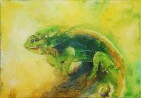 Tiere, Acrylmalerei, Gelb, Tusche