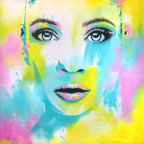 Lippen, Acrylmalerei, Frau, Gelb