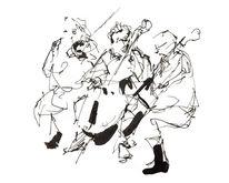 Cello, Musiker, Orchester, Tuschmalerei